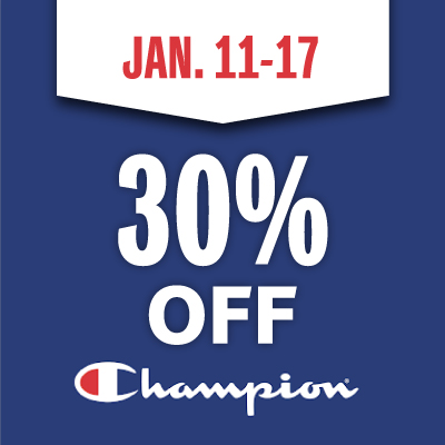 Save 30% on all Champion Apparel until Sunday, Jan. 17