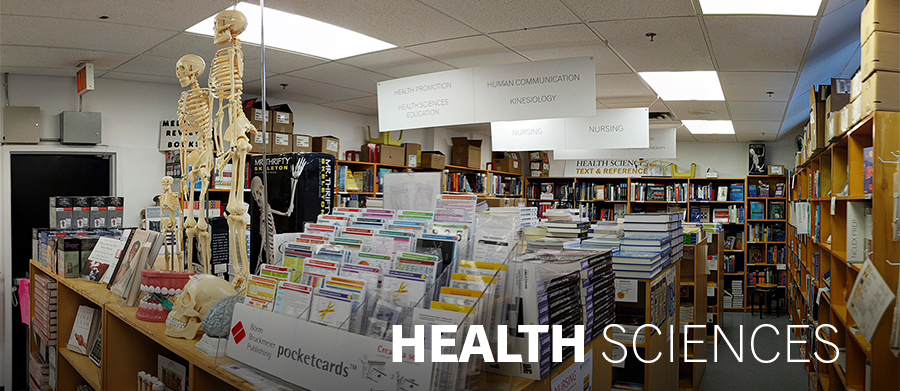 This image shows the inside of the Dalhousie university's bookstore; Health/Sciences section.